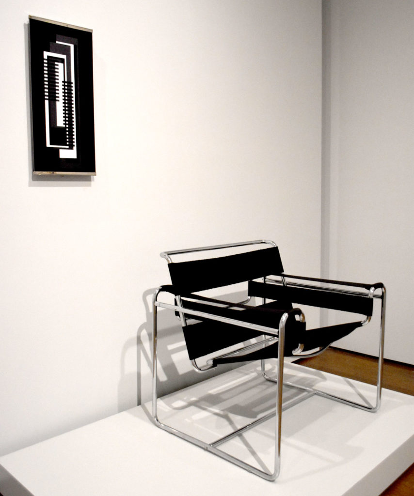 "At Harvard Art Museums: Josef Albers, ""Overlapping,"" c. 1927 (left) and Marcel Breuer, ""B3 club chair,"" c. 1931. (Greg Cook)"