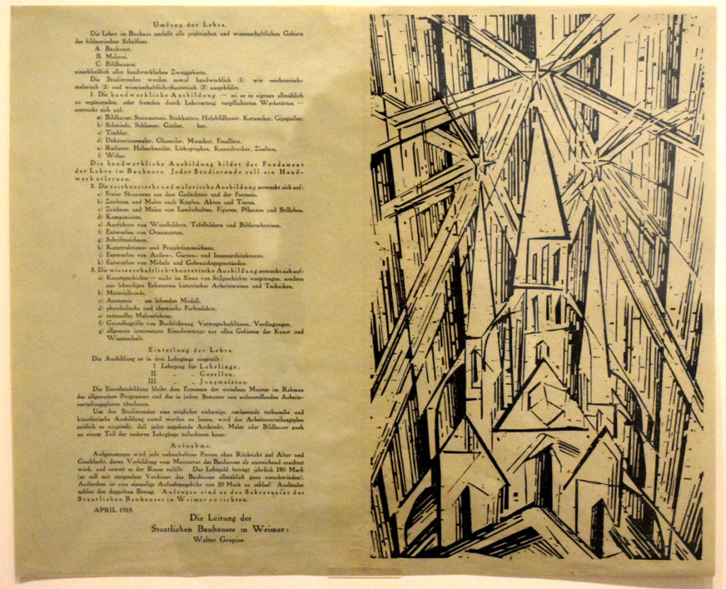 "At Harvard Art Museums: Lionel Feininger, ""Program of the State Bauhaus in Weimar,"" 1919, woodcut with letterpress printed in black ink on green wove paper. (Greg Cook)"