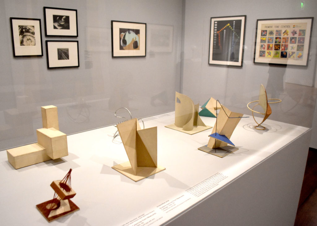 At Harvard Art Museums: Explorations of geometric forms and material studies by students of Robert D. Feild at Newcomb College at Tulane University, 1946–49. (Greg Cook)