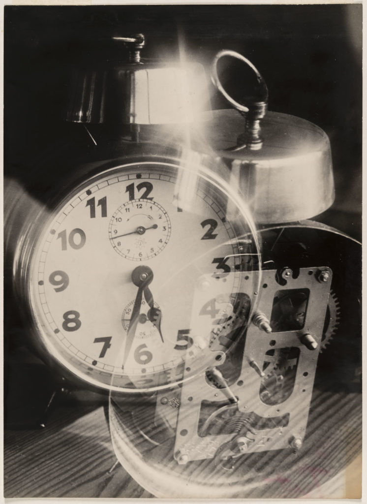 "At MIT Museum: Werner David Feist, ""Alarm Clock, Double Exposure,"" about 1929. (Courtesy Bauhaus-Archiv, Berlin)"