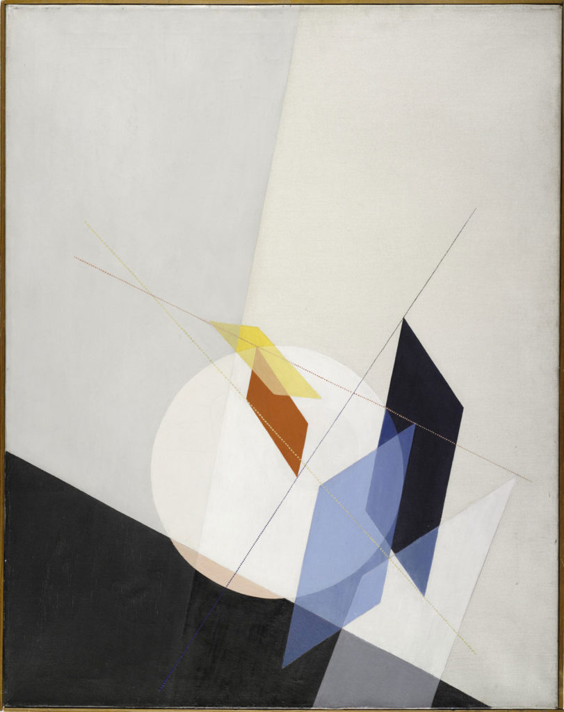 "At Harvard Art Museums: László Moholy-Nagy, ""A 18,"" 1927. Oil on canvas. (Harvard Art Museums/Busch-Reisinger Museum)"