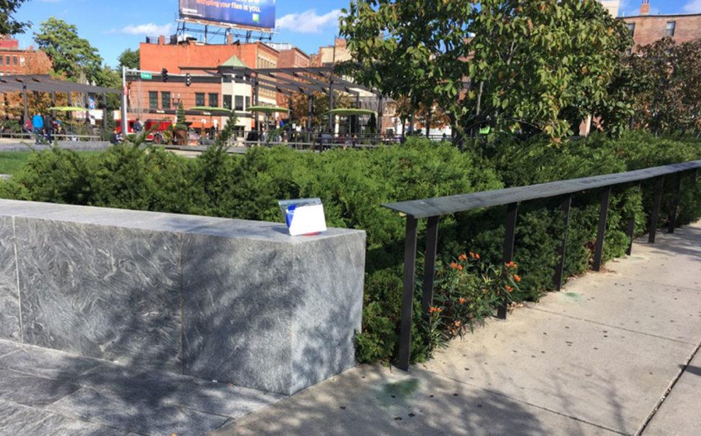 "Kathleen Bitetti ""Crossings: Abigail was Here (Boston),"" artwork left along Boston Greenway."