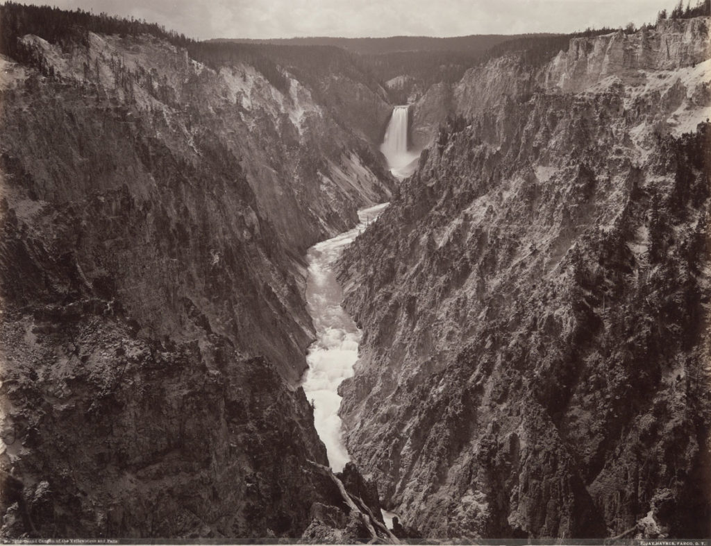 """Frank Jay Haynes """"Grand Canyon of Yellowstone and Falls,"""" about 1887, photograph, albumen print. (Courtesy, Museum of Fine Arts, Boston)"""