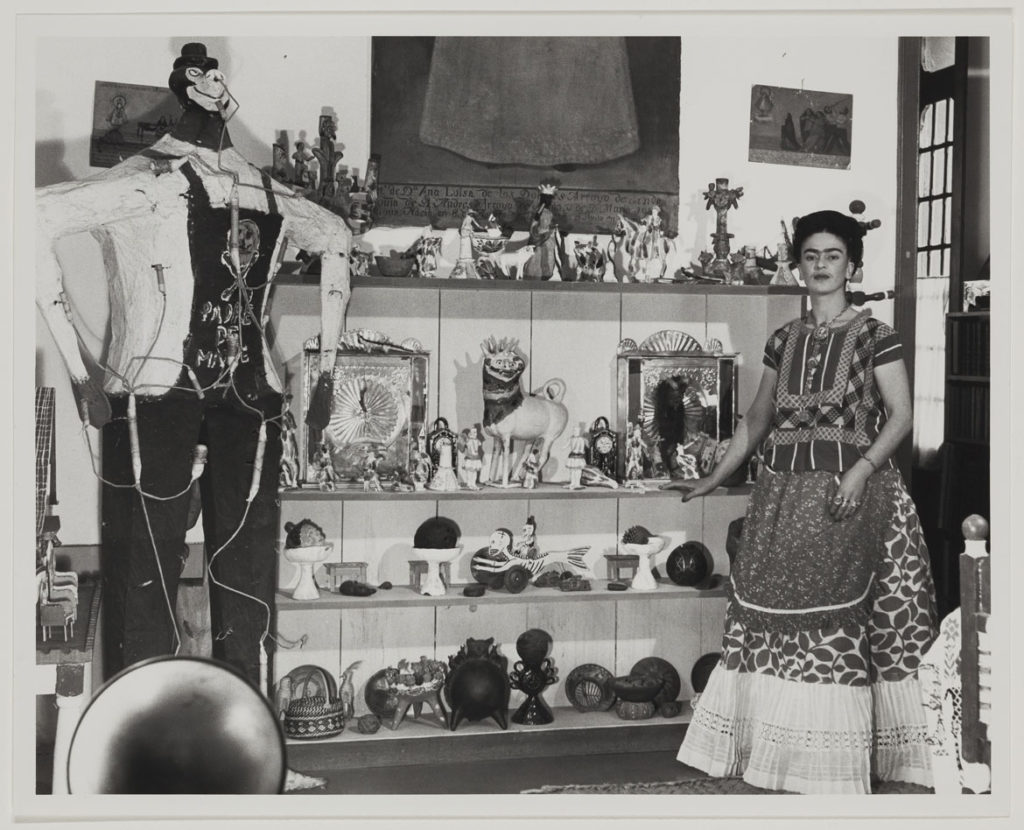 "Bernard Silberstein, ""Frieda Kahlo in Rivera Living Room with Figure of Judas,"" around 1940, photograph. (Courtesy, Museum of Fine Arts, Boston)"