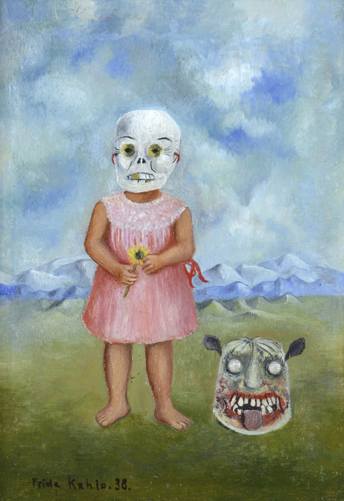 "Frida Kahlo, ""Girl with Death Mask (She Plays Alone),"" 1938, oil on tin. (Courtesy, Museum of Fine Arts, Boston)"