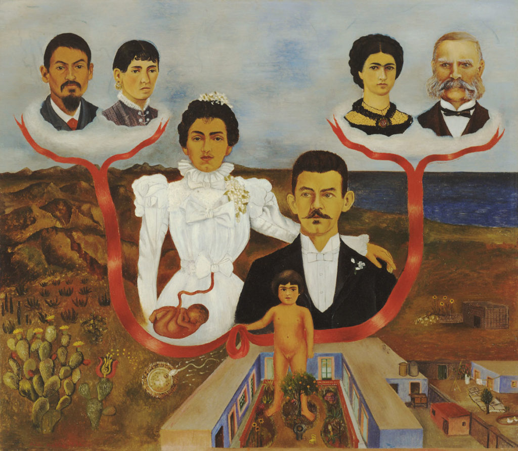 "Frida Kahlo, ""My Grandparents, My Parents, and I (Family Tree),"" 1936, oil and tempera on zinc. (Courtesy, Museum of Fine Arts, Boston)"