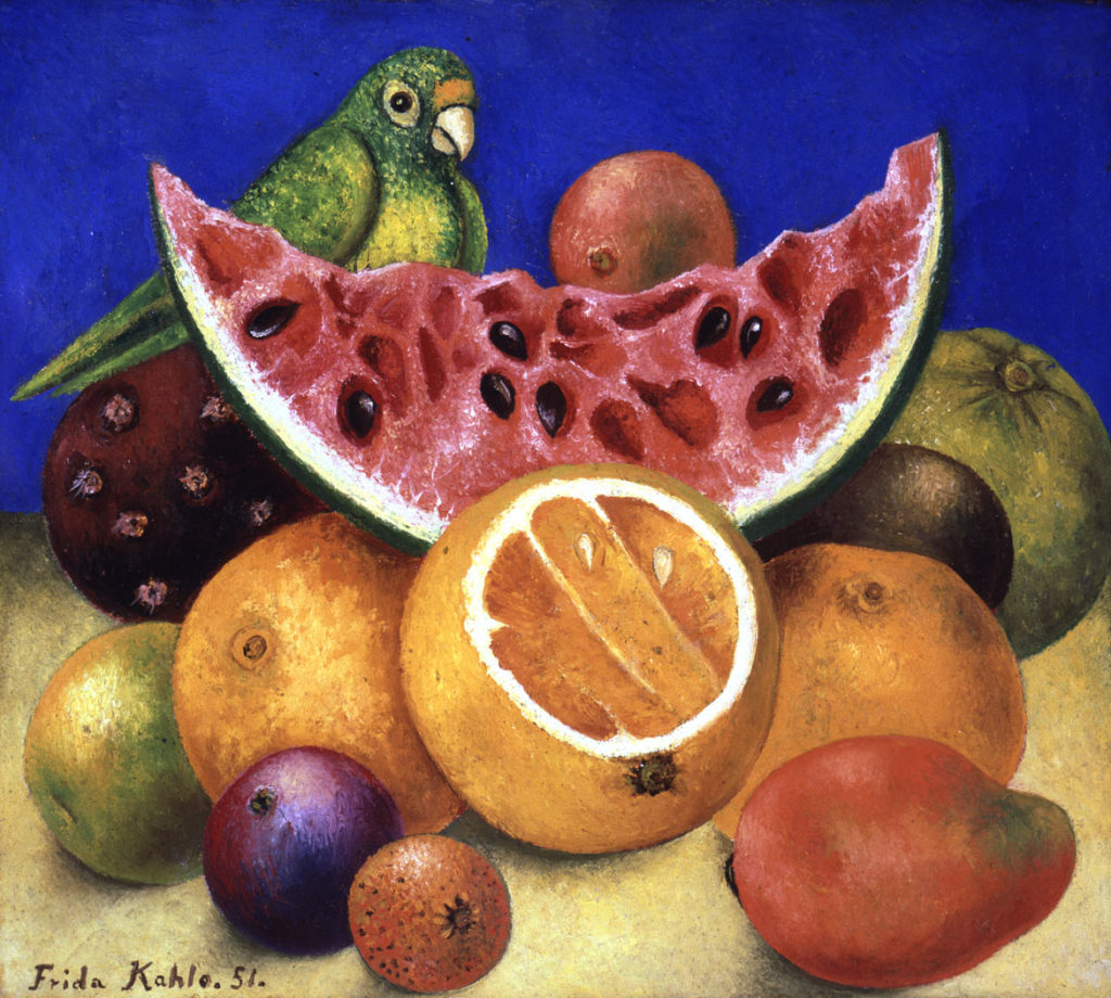 "Frida Kahlo, ""Still Life with Parrot and Fruit,"" 1951, oil on canvas mounted on board. (Courtesy, Museum of Fine Arts, Boston)"