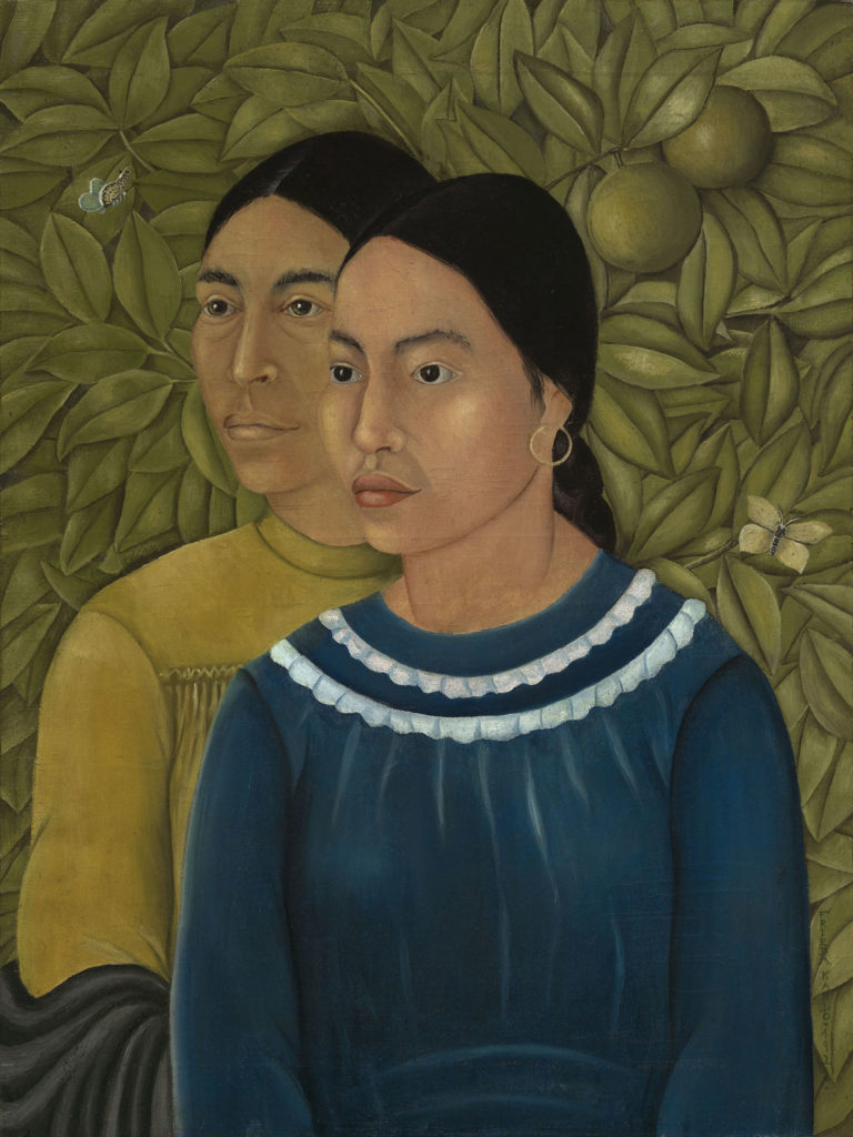 "Frida Kahlo, ""Dos Mujeres (Salvadora y Herminia),"" 1928, oil on canvas. (Courtesy, Museum of Fine Arts, Boston)"