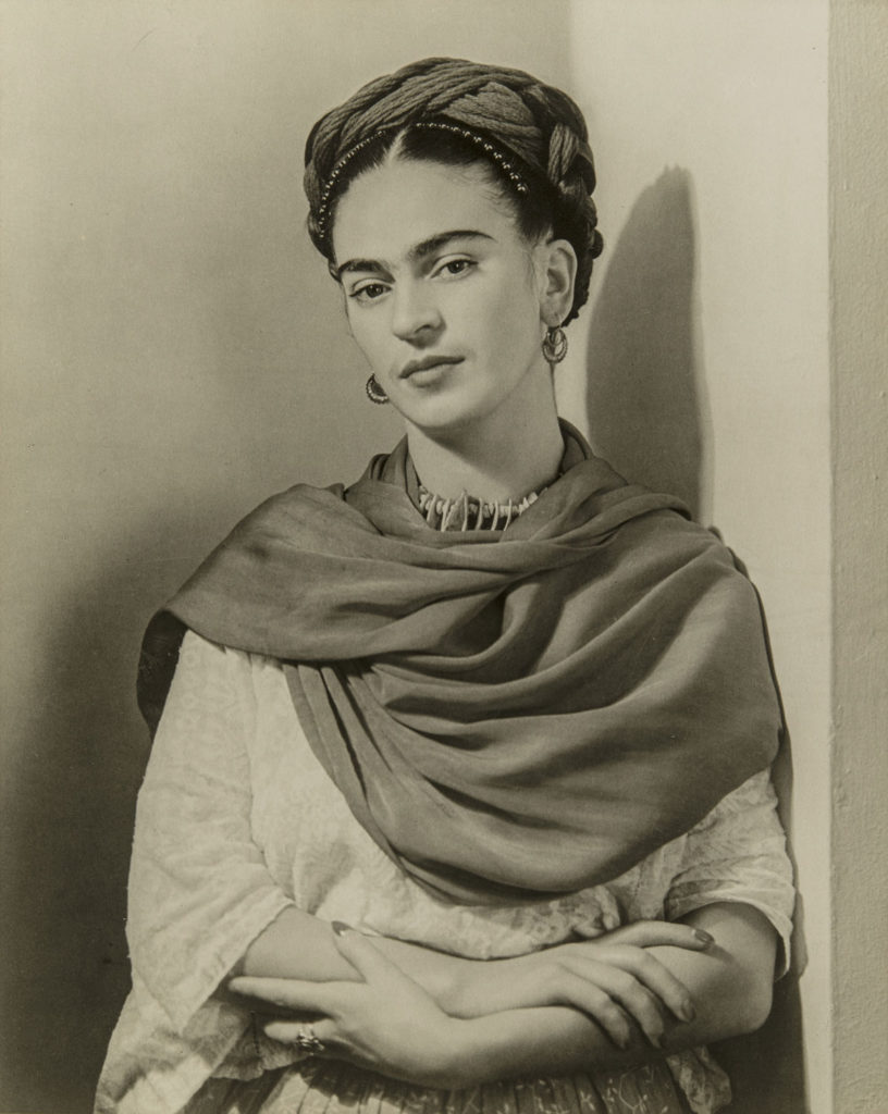 "Nickolas Muray, ""Frida Kahlo 'The Classic' (Black and White),"" 1939, photograph. (Courtesy, Museum of Fine Arts, Boston)"