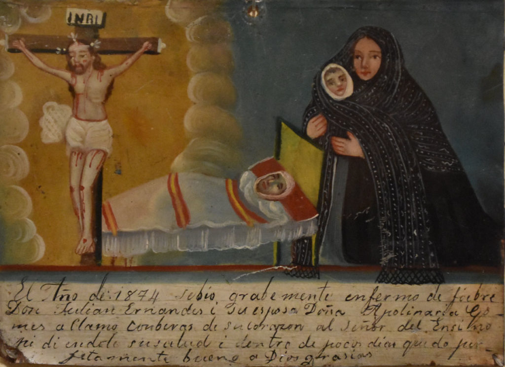"""Ex-voto to El Señor del Encino,"" 19th century Mexico, oil on tin."