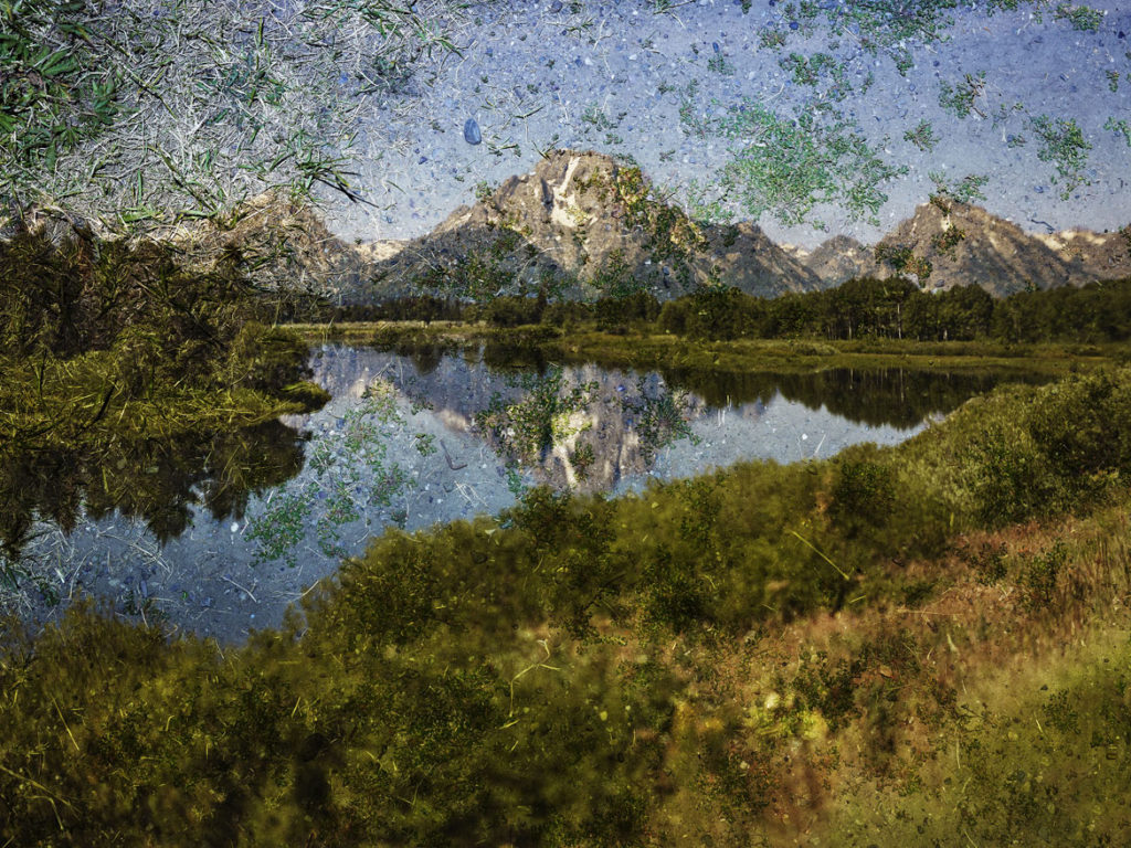 "Abelardo Morell ""Tent‐Camera Image on Ground: View of Mount Moran and the Snake River from Oxbow Bend, Grand Teton National Park, Wyoming,"" 2011, photograph, inkjet print. (Courtesy, Museum of Fine Arts, Boston)"