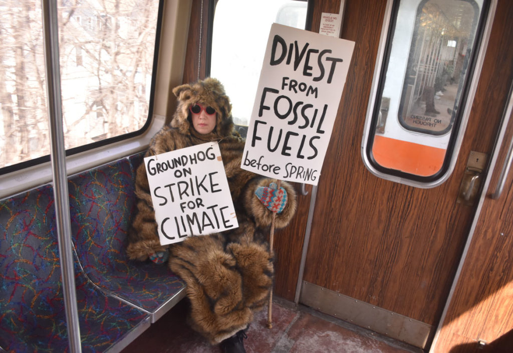"Kari Percival's ""Groundhog on Strike"" riding the MBTA, Feb. 1, 2019. (Greg Cook photo)"