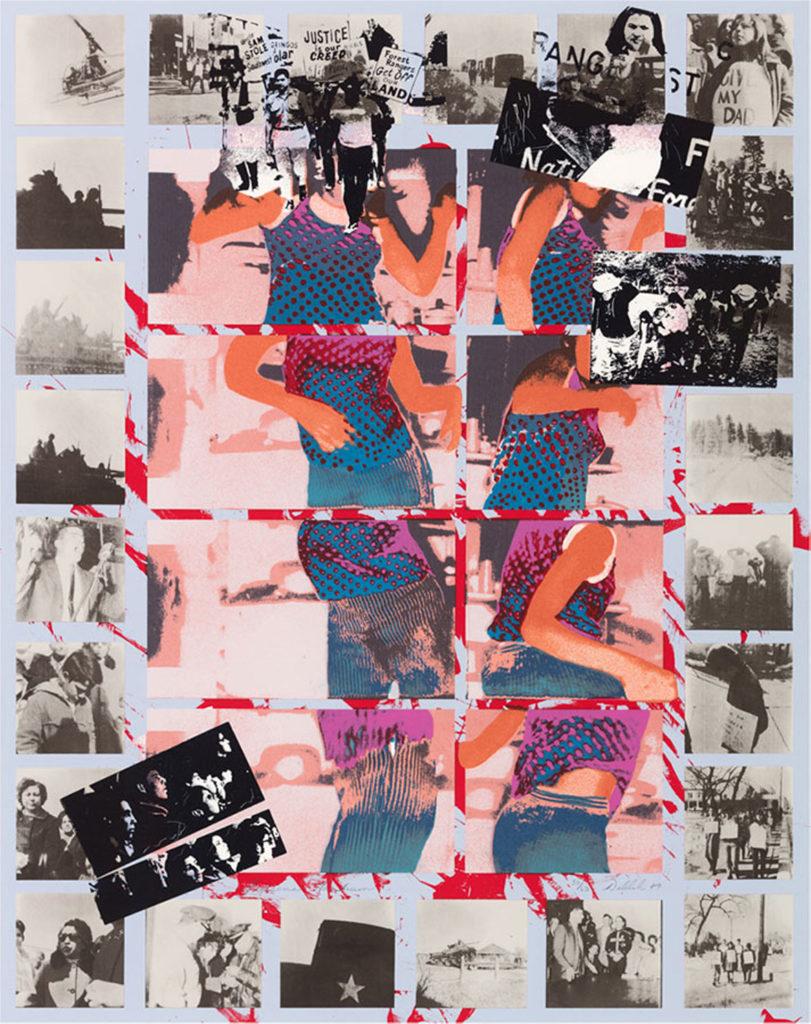 """Delilah Montoya, """"Tijerina Tantrum,"""" 13-color serigraph, 1989. (Laguna Art Museum)"""