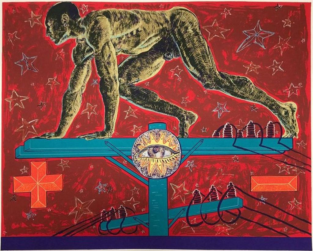 "Miguel Angel Reyes, ""Tension,"" 10-color serigraph, 1991. (Laguna Art Museum)"