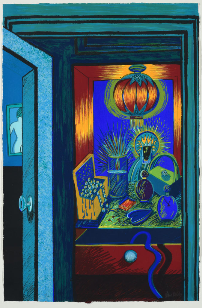 "Patssi Valdez, ""The Dressing Table,"" 12-color serigraph, 1988. (Laguna Art Museum)"