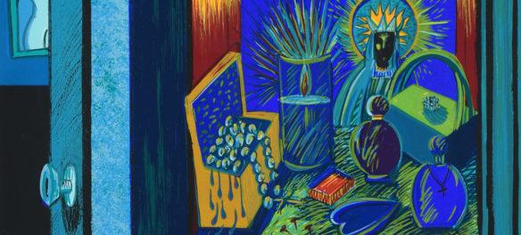 "Detail of Patssi Valdez, ""The Dressing Table,"" 12-color serigraph, 1988. (Laguna Art Museum)"