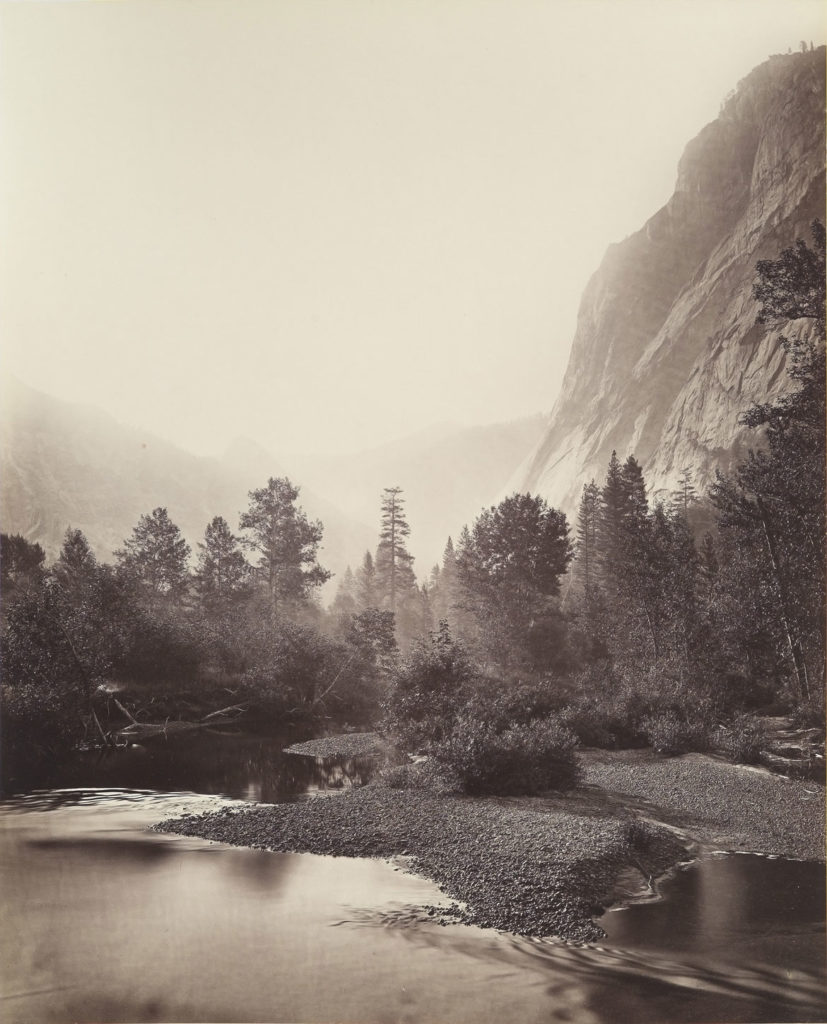 "Carleton E. Watkins, ""Mount Starr King and Glacier Point, Yosemite, No. 69,"" 1865–66, photograph, mammoth albumen print from wet collodion negative. (Courtesy, Museum of Fine Arts, Boston)"