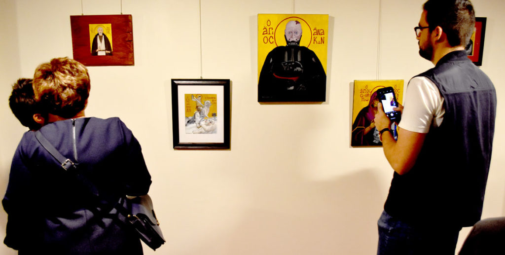 "Alex Ramos's ""Saints of Star Wars"" exhibit at Harvard University's Center for the Study of World Religions. (Greg Cook)"