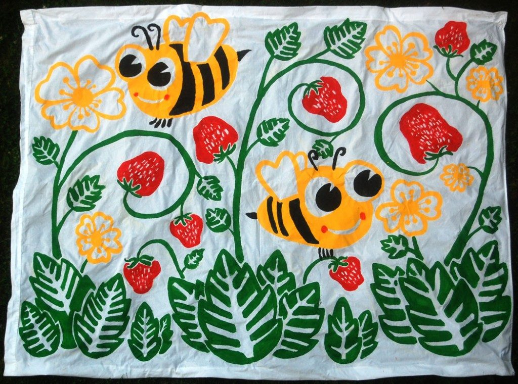 "Greg Cook's ""Bees and Strawberries"" banner, July 2015. (Greg Cook)"