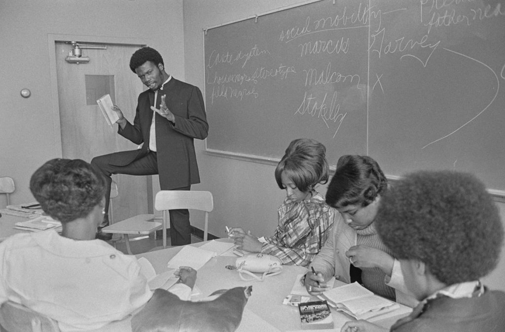 "Pirkle Jones, ""George Murray, Minister of Education, teaching English at San Francisco State College, San Francisco, CA,"" Oct. 2, 1968. (Courtesy University of California, Santa Cruz)"