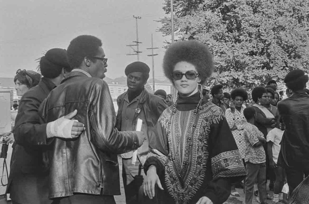 "Pirkle Jones, ""Kathleen Cleaver, Free Huey Rally, Bobbly Hutton Memorial Park, Oakland, CA,"" September 22, 1968. (Courtesy University of California, Santa Cruz)"