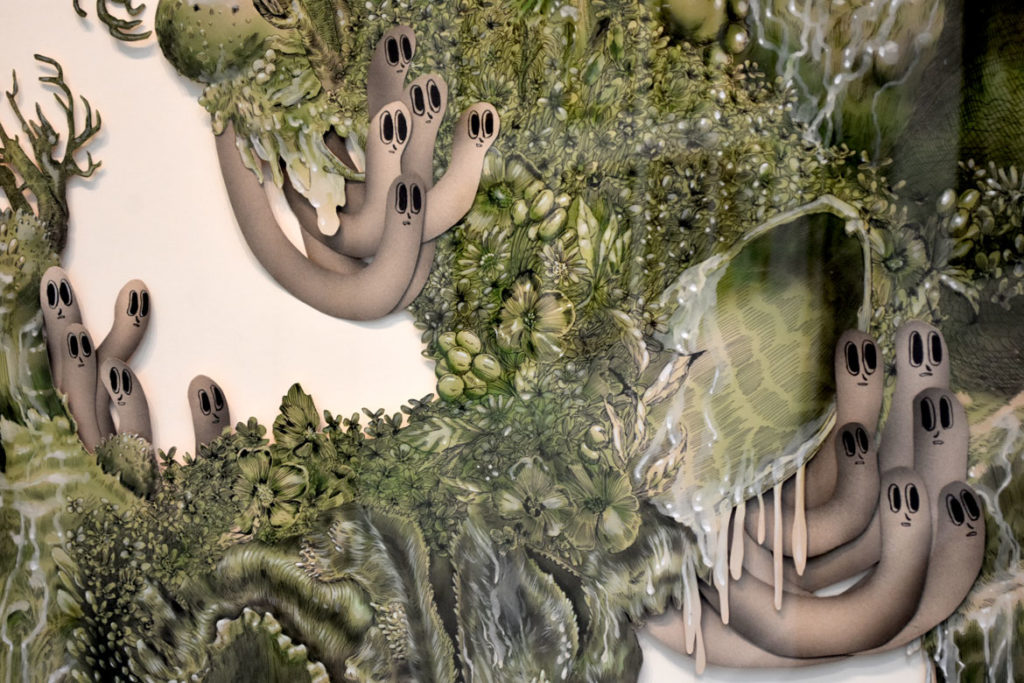 "Detail of Caitlin and Nicole Duennebier, ""Infestation of Hanging Garden,"" 2017, acrylic and paper."