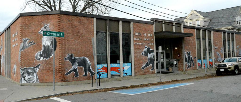 Eileen de Rosas's temporary mural on Arlington's Fox Library.