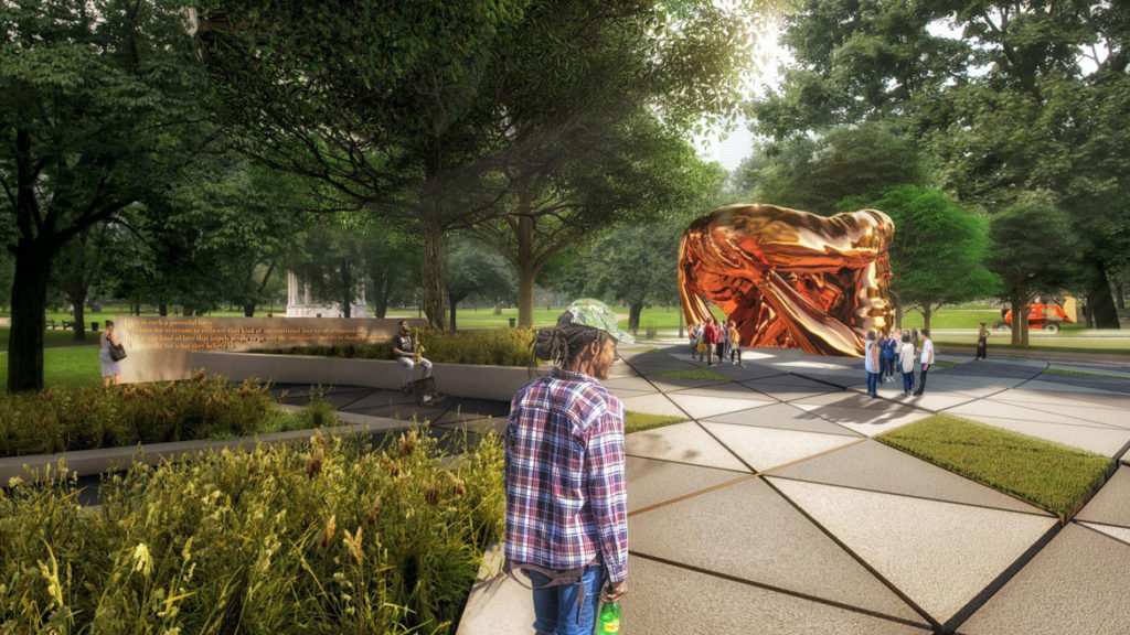 "Design for ""The Embrace"" by Hank Willis Thomas and MASS Design Group for Boston Common. (Courtesy King Boston)"