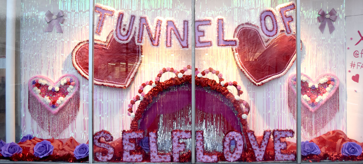 "Fatty Spice's ""Tunnel of Self-Love"" at Montserrat College of Arts' Frame 301 Gallery in Beverly, March 24, 2019. (Greg Cook)"