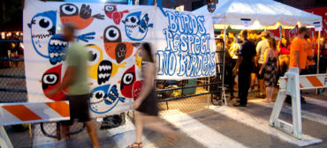 """Greg Cook's """"Birds Respect No Borders"""" banners at AS220 Foo Fest, Providence, Aug. 12, 2017. (Greg Cook)"""