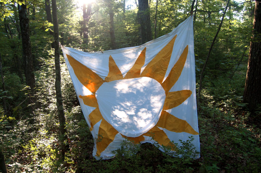 "Greg Cook's ""Sun"" banner in Middlesex Fells, July 16, 2017. (Greg Cook)"