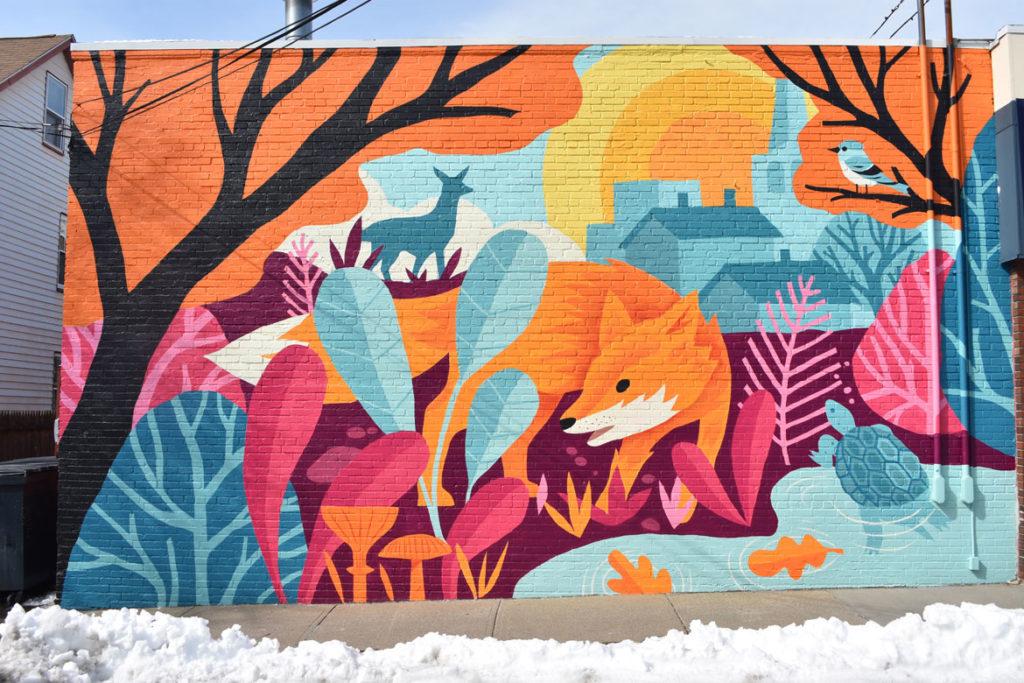 James Weinberg's mural on Za Restaurant in Arlington. (Greg Cook)