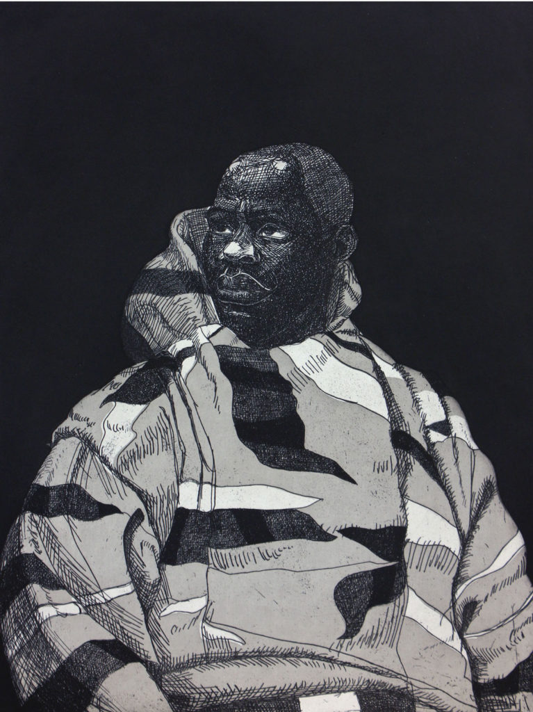"""Kerry James Marshall, """"Untitled (Handsome Young Man),"""" 2010, hardground etching with aquatint. (Courtesy of Paulson Fontaine Press, Berkeley, CA)"""