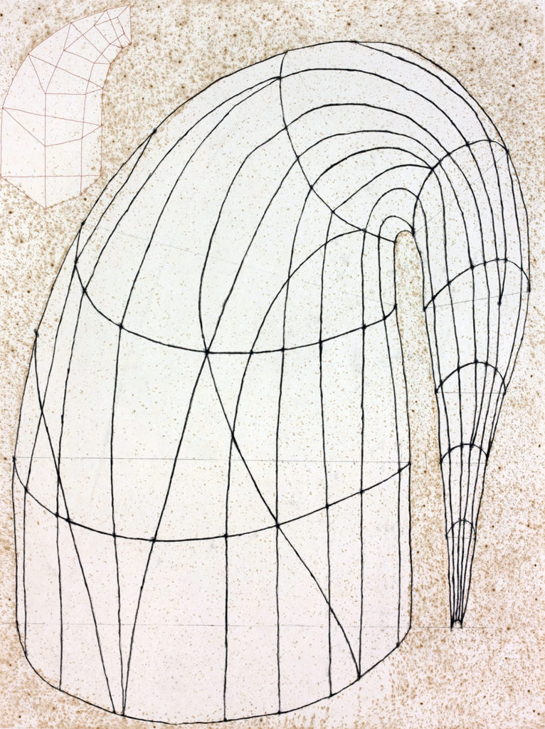 """Martin Puryear """"Untitled (State II),"""" 2014, Color softground etching with drypoint and chine collé.(Courtesy of Paulson Fontaine Press, Berkeley, CA)"""