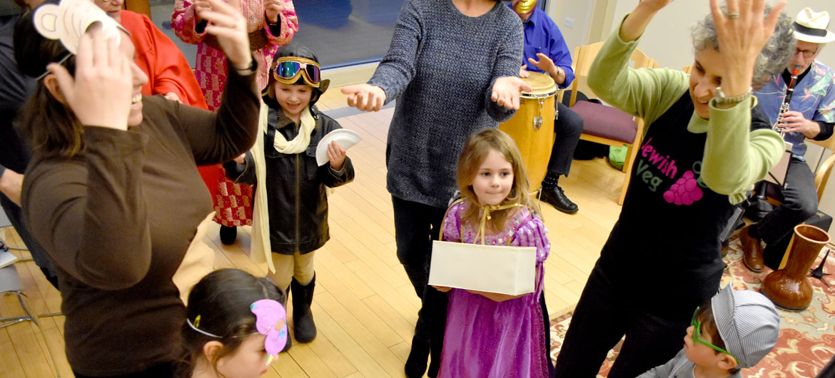 Purim Party at Gloucester's Temple Ahavat Achim, March 20, 2019. (Greg Cook)