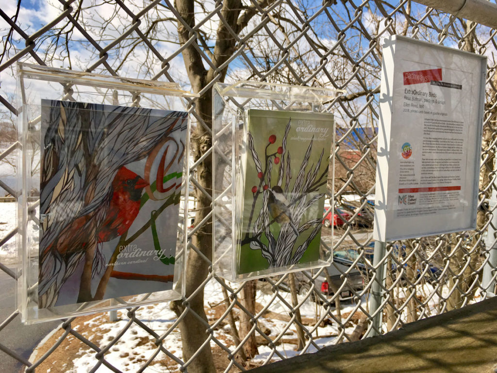 """ExtraOrdinary Birds"" printed cards based on paintings by Resa Blatman and texts by Ellen Reed, 2018, along the Minuteman Bikeway, Arlington."