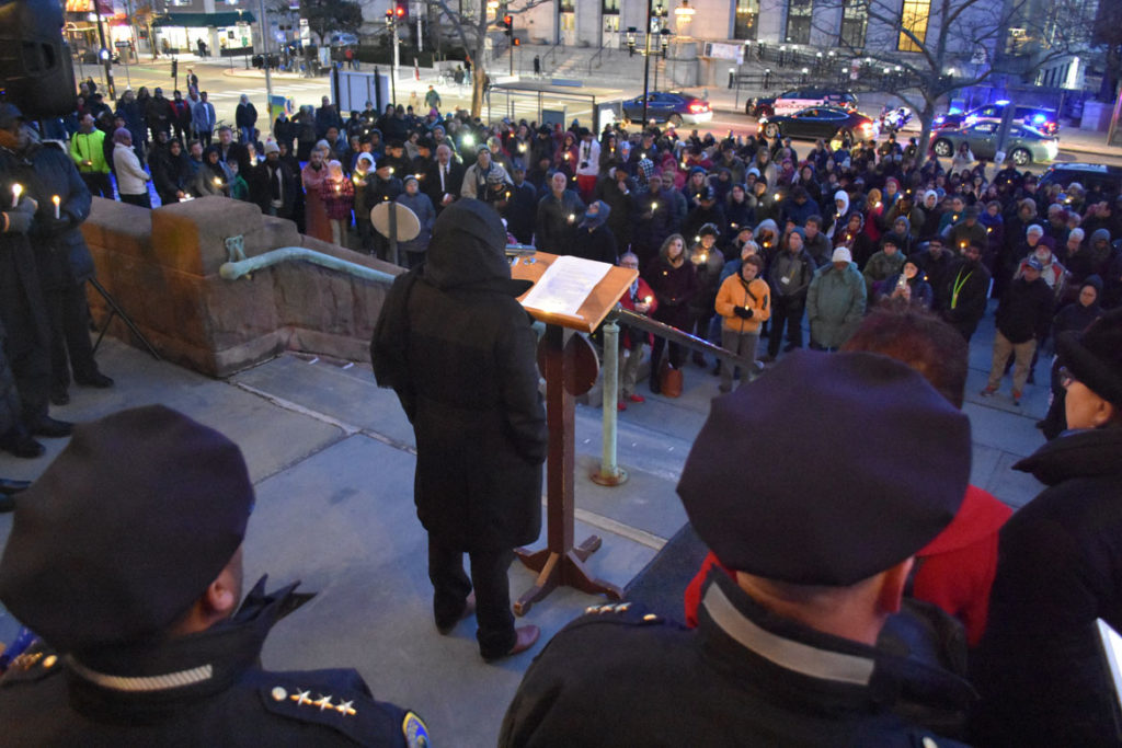 "Cambridge City Councilor Sumbul Siddiqui speaks at the ""Candlelight Vigil for Victims of the New Zealand Mosque Attacks."" at Cambridge City Hall, March 19, 2019. (Greg Cook)"