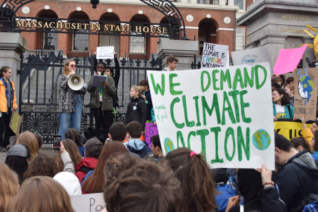 Youth Climate Strike at Massachusetts State House, Boston, March 15, 2019. (Greg Cook)