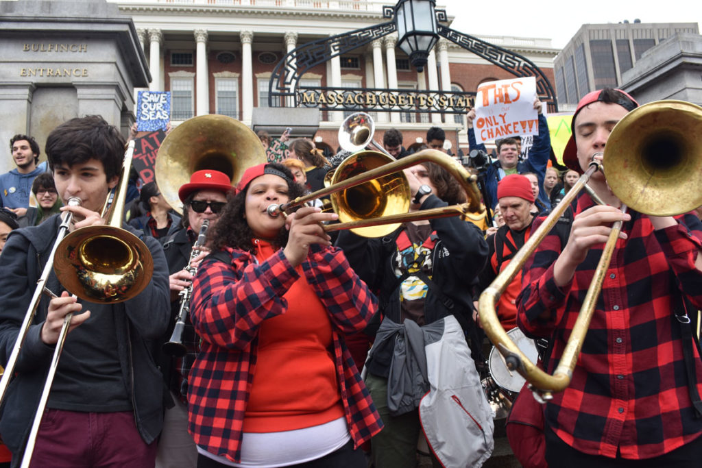 Second Line Social Aid and Pleasure Society Brass Band plays at the Youth Climate Strike at Massachusetts State House, Boston, March 15, 2019. (Greg Cook)