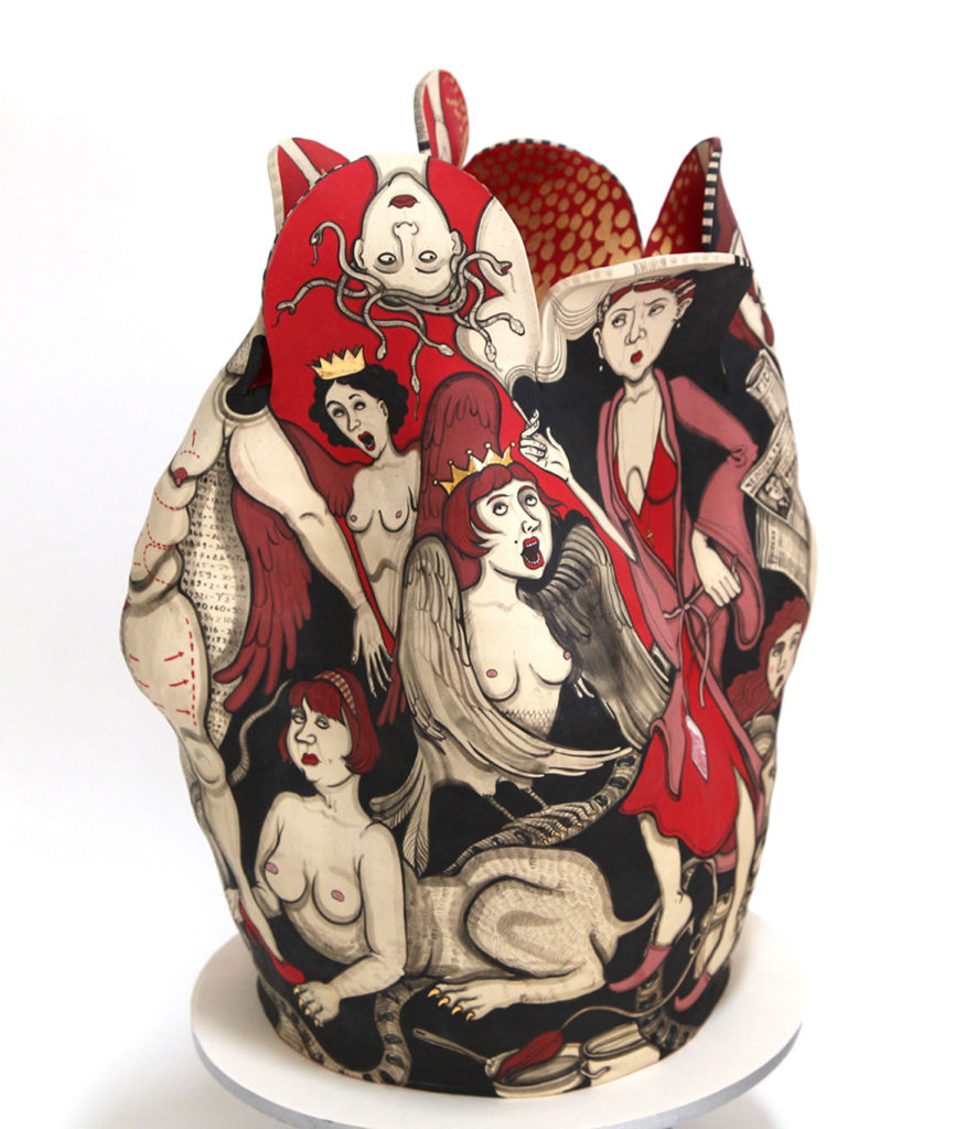 "Yana Payusova, ""Archetypes, Revolutions series,"" Ceramic, 17 x 14 x 11 inches, 2018. (Courtesy Howard Yezerski Gallery)"