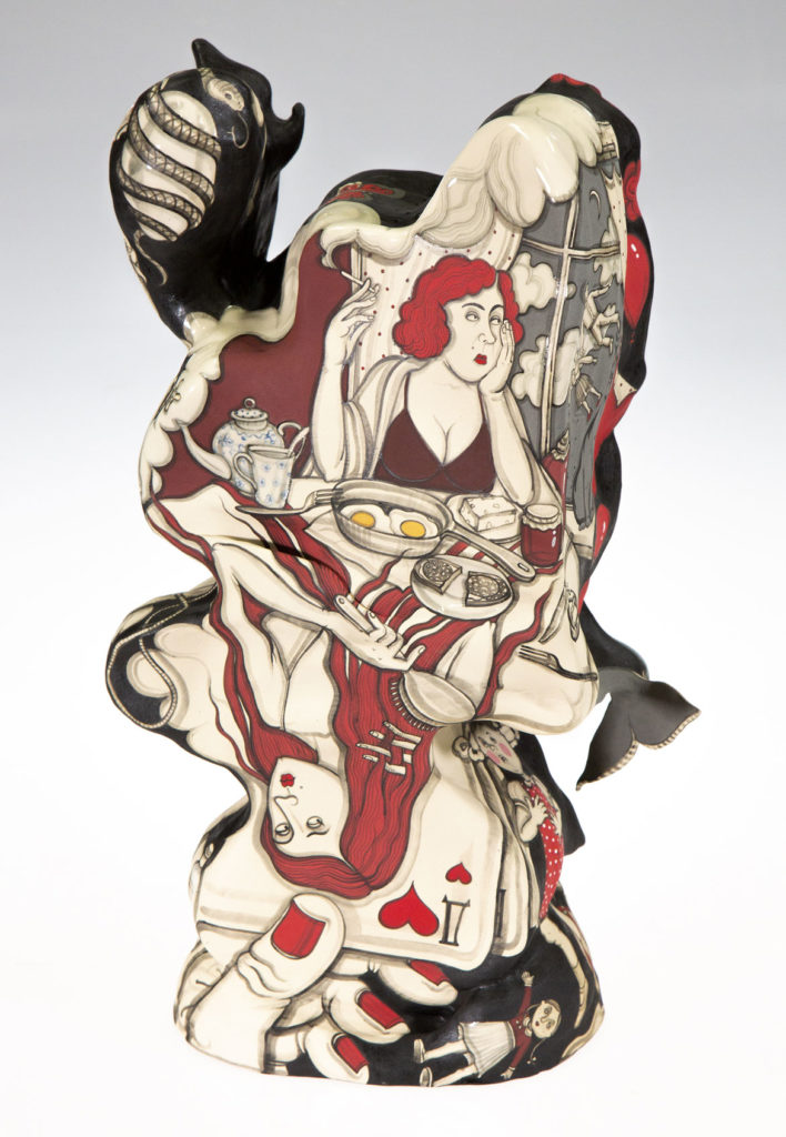 "Yana Payusova, ""Origins, Revolutions series,"" ceramic, 20 x 12 x 9 inches, 2018. (Courtesy Howard Yezerski Gallery)"