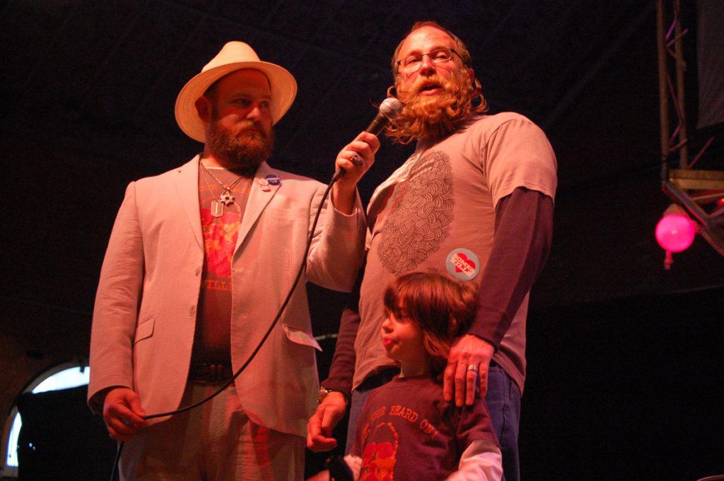 "Host Stu Siegel (left) interviews ""BeardFest"" founder Todd Easton. (Greg Cook)"