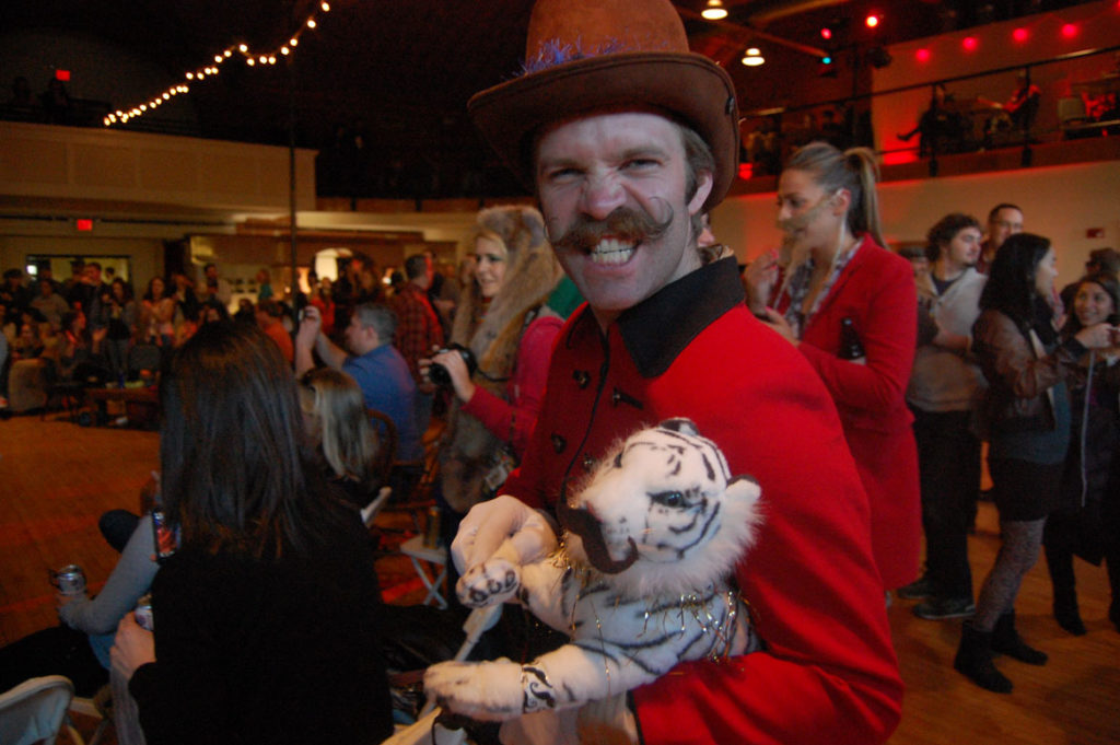 Brian McGregor, a free-style moustache finalist, with his cat Tiger Lily. (Greg Cook)
