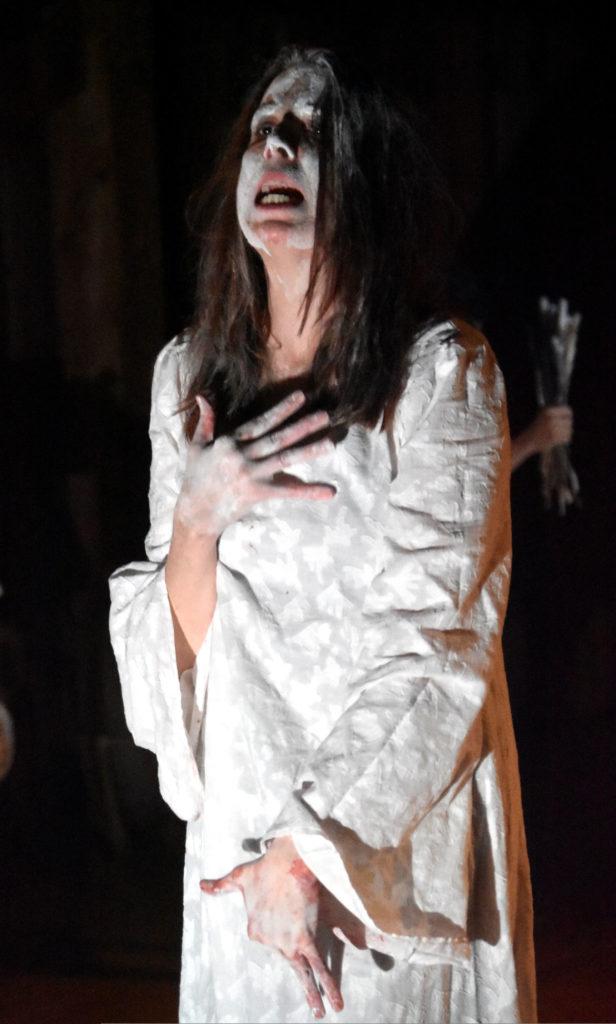 """Jennifer Johnson in """"Leonora & Alejandro: La Maga y el Maestro,"""" a rehearsal by Double Edge Theatre at their Farm Center in Ashfield, April 1, 2019. (Greg Cook)"""