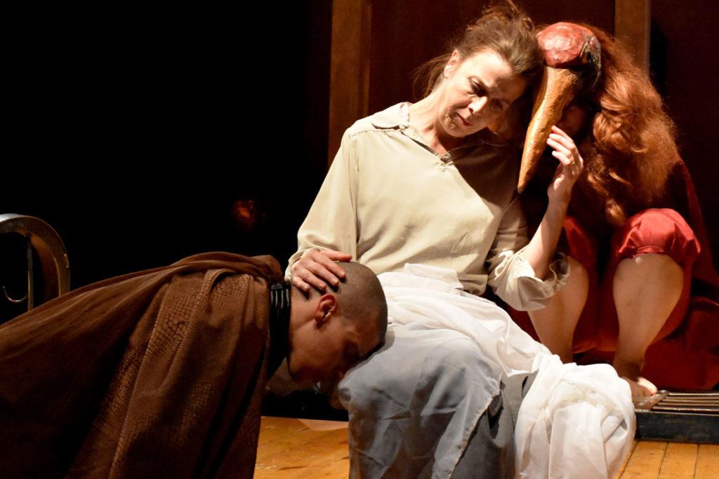 """""""Leonora & Alejandro: La Maga y el Maestro,"""" a rehearsal by Double Edge Theatre at their Farm Center in Ashfield, April 1, 2019. (Greg Cook)"""