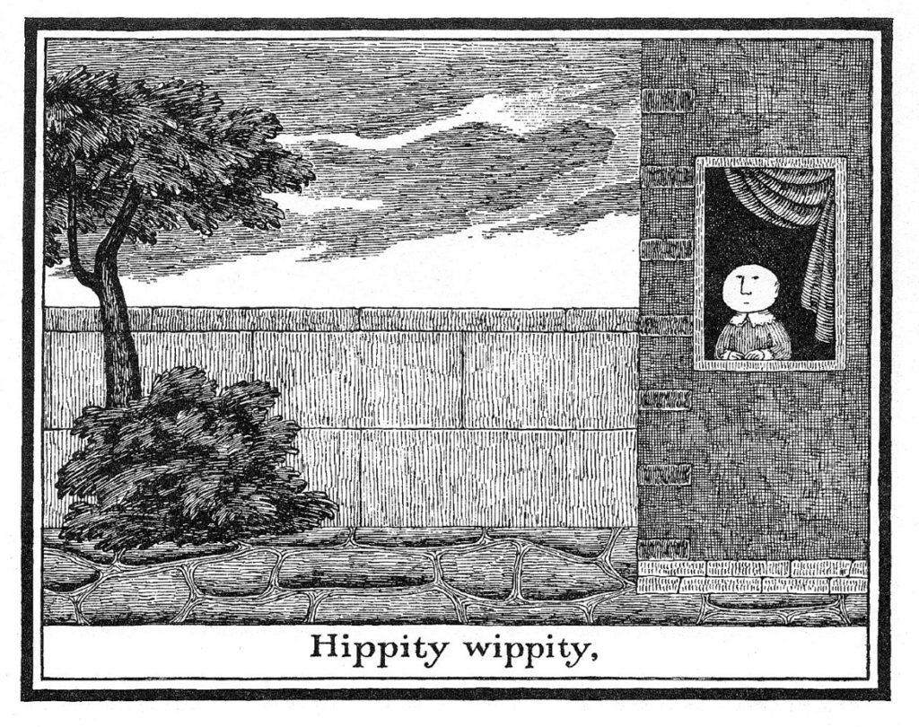 "Edward Gorey ""Boy at the Window"" from [The Untitled Book], 1971. (Courtesy Edward Gorey House)"