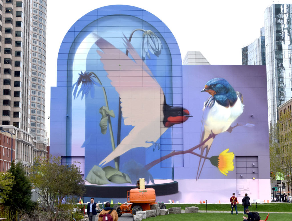 """Resonance,"" a mural by Super A (Stefan Thelen), in progress on Boston's Greenway in Dewey Square, April 29, 2019. (Greg Cook)"