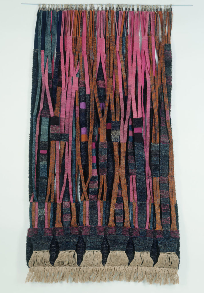 "Olga de Amaral ""Muro teijido 1 (Wall Hanging 1),"" probably 1969, double-woven slit tapestry of hand-spun wool. (Museum of Arts and Design, New York, Photo: Eva Heyd. © Olga de Amaral)"