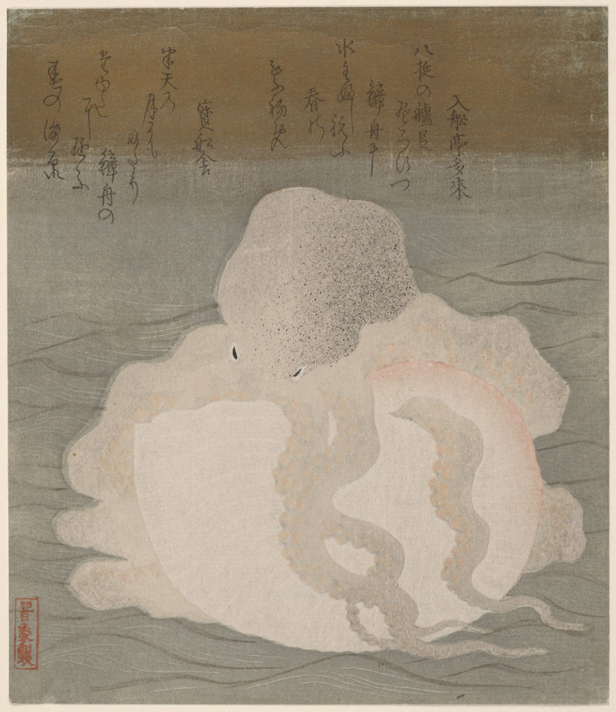 """Octopus and Shell,"" Japanese, Edo period, c. 1820s, woodblock print (surimono); ink, color, and metallic pigment on paper. (Courtesy Harvard Art Museums)"