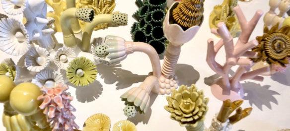 "Megan Bogonovich ceramics in ""Neon Wilderness"" at Kelley Stelling Contemporary, March 2019. (Courtesy Kelley Stelling Contemporary)"